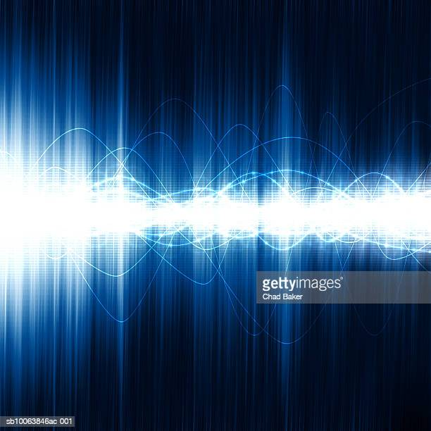 Glowing waves and points of light over glowing grid (Digitally Generated)