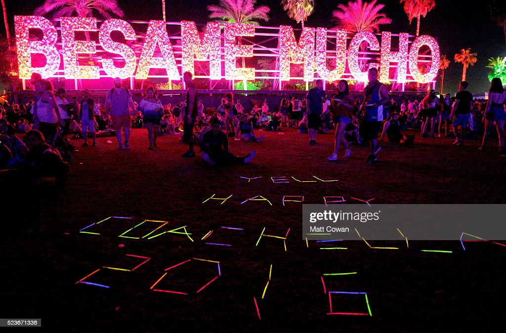 Glow-in-the-dark lettering as seen with Besame Mucho art installation by R & R Studios during day 2 of the 2016 Coachella Valley Music & Arts Festival Weekend 2 at the Empire Polo Club on April 23, 2016 in Indio, California.