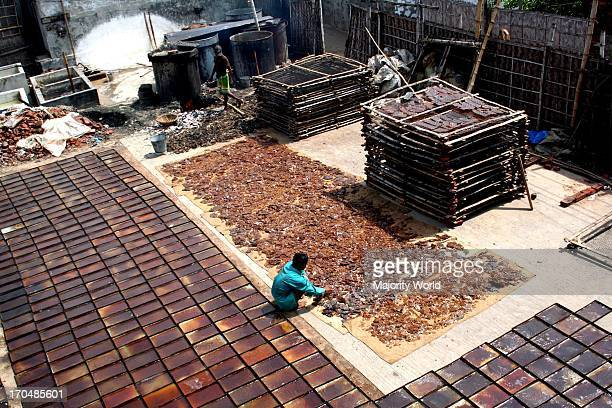 A glue factory in Hazaribagh area situated on the outskirts of Dhaka Bangladesh Factories in this area use lather wastes from the tanneries and...