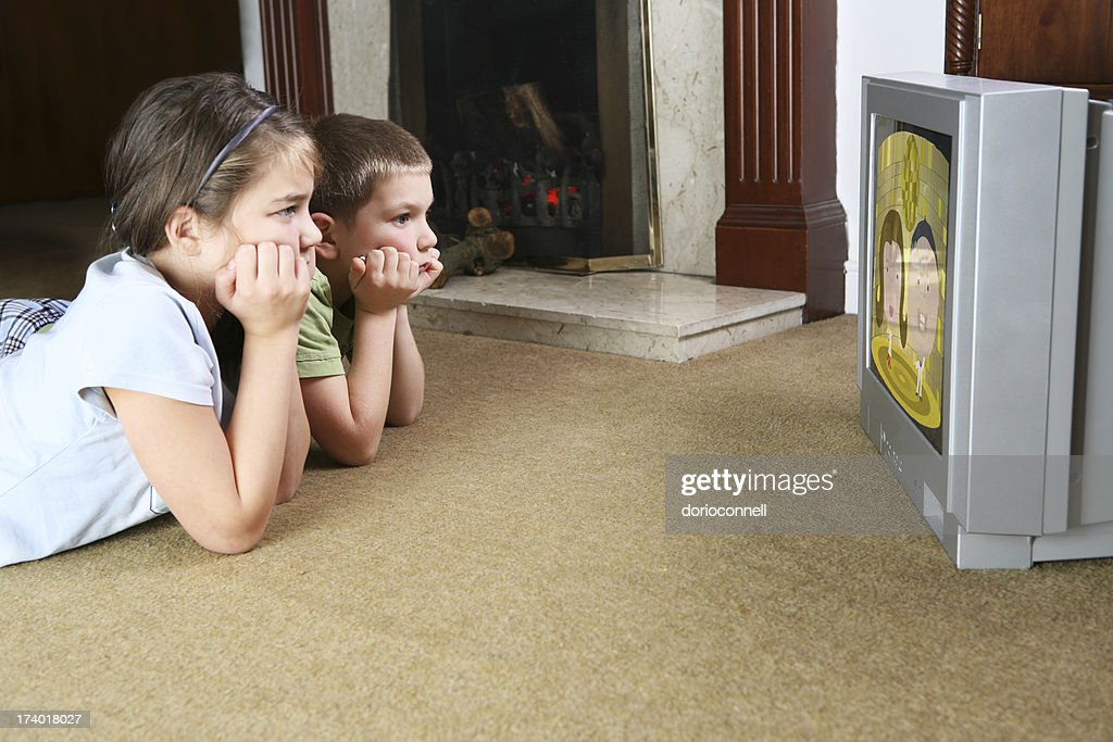 glued to the telly : Stock Photo
