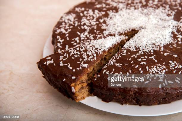 Gluten and casein free brownie with coconut crumbs