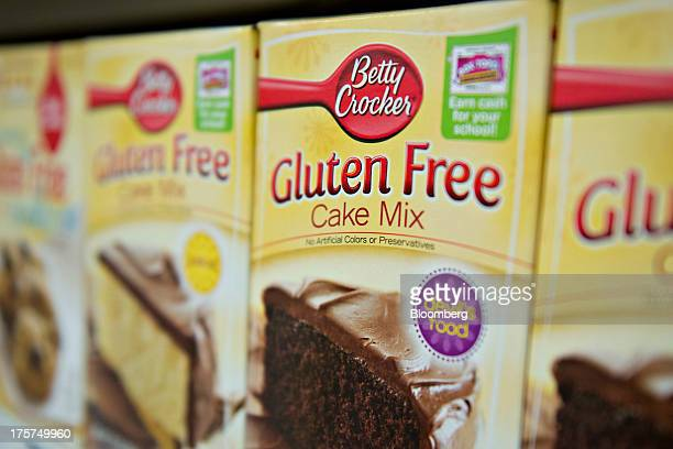 'Gluten Free' appears on the packaging for General Mills Inc Betty Crocker brand cake mix displayed for sale at a supermarket in Princeton Illinois...