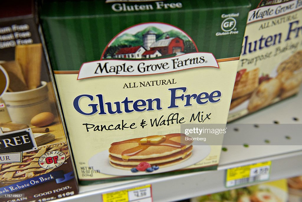 'Gluten Free' appears on the packaging for Maple Grove Farms brand pancake and waffle mix displayed for sale at a supermarket in Princeton, Illinois, U.S., on Wednesday, Aug. 7, 2013. The Food and Drug Administration (FDA) is issuing a final rule to define the term 'gluten-free' when voluntarily used in food labeling, according to a notice published in the Aug. 5 Federal Register. Photographer: Daniel Acker/Bloomberg via Getty Images