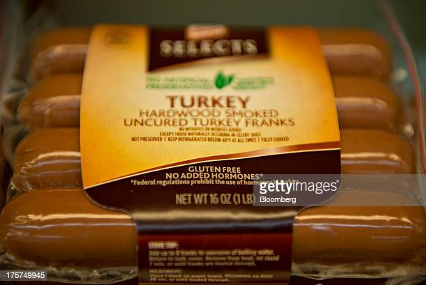 'Gluten Free' appears on the packaging of Kraft Food Co Oscar Mayer turkey franks displayed for sale at a supermarket in Princeton Illinois US on...