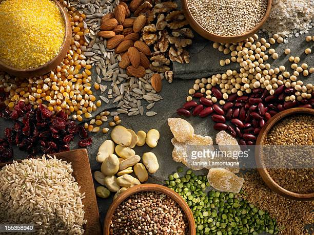 gluten free ingredients - nut food stock photos and pictures
