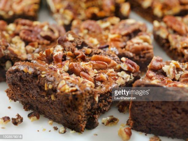 gluten free, low carbohydrate, fudge brownies with sea salted pecans - fudge stock pictures, royalty-free photos & images