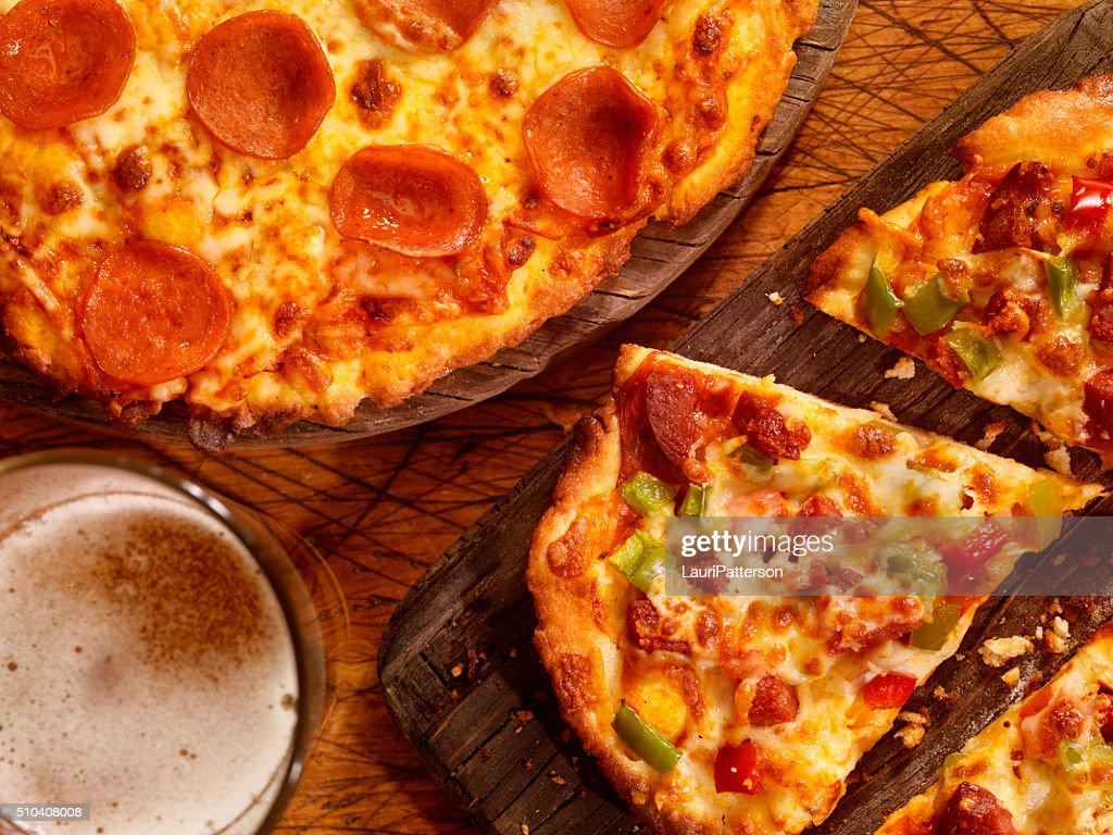 Gluten Free Pizzas with Glue Free Beer : Stock Photo
