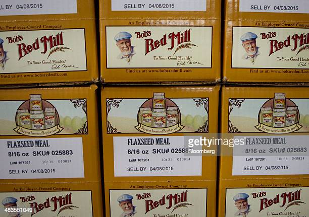 Gluten free products sit stacked before shipment at the Bob's Red Mill and Natural Foods facility in Milwaukie Oregon US on Tuesday April 8 2014...