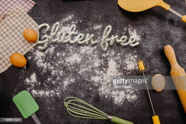 gluten free test in flour.bakery items.top view - road sign board stock pictures, royalty-free photos & images