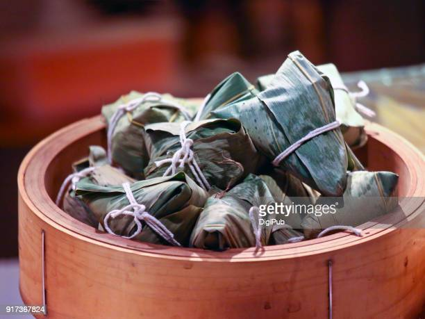 Glutinous rice dumplings wrapped in bamboo leaves