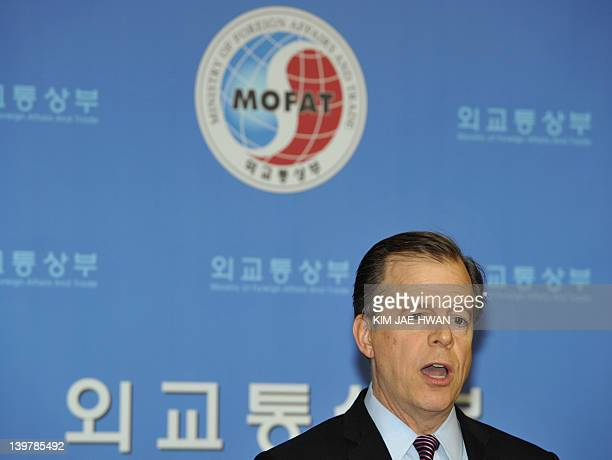 Glyn Davies coordinator for US policy on North Korea speaks during a press conference in Seoul on February 25 2012 Davies said talks with North Korea...