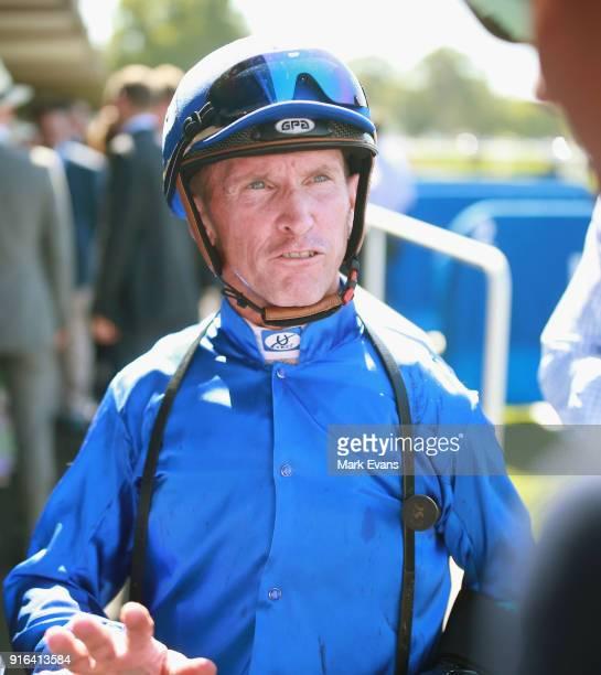 Glyn Schofield on Kementari returns to scale after winning race 6 during Sydney Racing at Warwick Farm on February 10 2018 in Sydney Australia