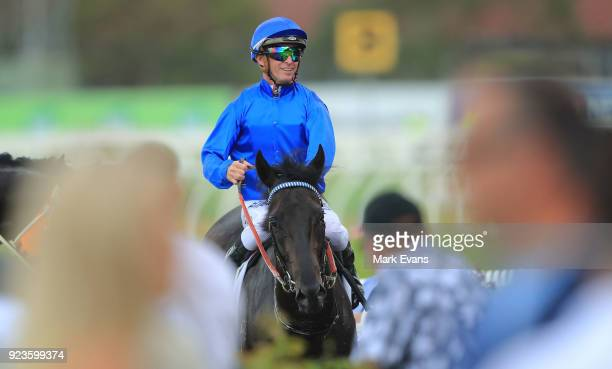 Glyn Schofield on Kementari returns to scale after winning race 7 The Hobartville Stakes during Sydney Racing at Rosehill Gardens on February 24 2018...