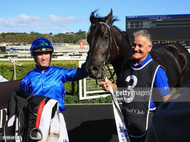 Glyn Schofield on Kementari returns to scale after winning race 7 the Randwick Guineas during Sydney Racing at Royal Randwick Racecourse on March 10...