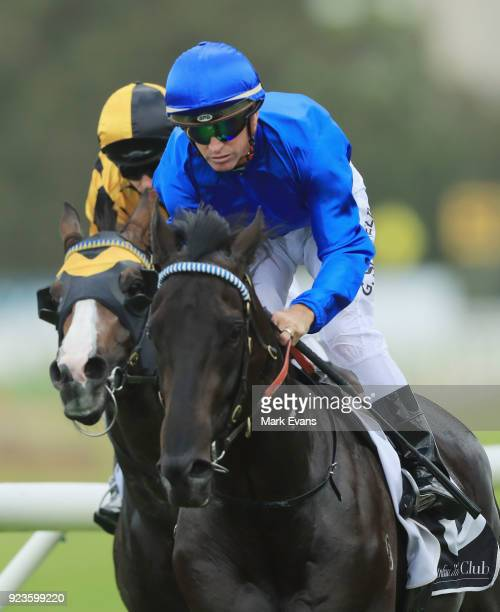Glyn Schofield on Kementari wins race 7 The Hobartville Stakes during Sydney Racing at Rosehill Gardens on February 24 2018 in Sydney Australia
