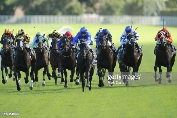 Glyn Schofield on Kementari wins race 7 the Randwick Guineas during Sydney Racing at Royal Randwick Racecourse on March 10 2018 in Sydney Australia