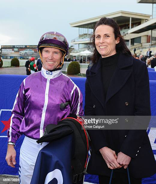 Glyn Schofield poses with Assistant trainer Justine Hales after riding Boban to win Race 8 the Memsie Stakes during Melbourne racing at Caulfield...