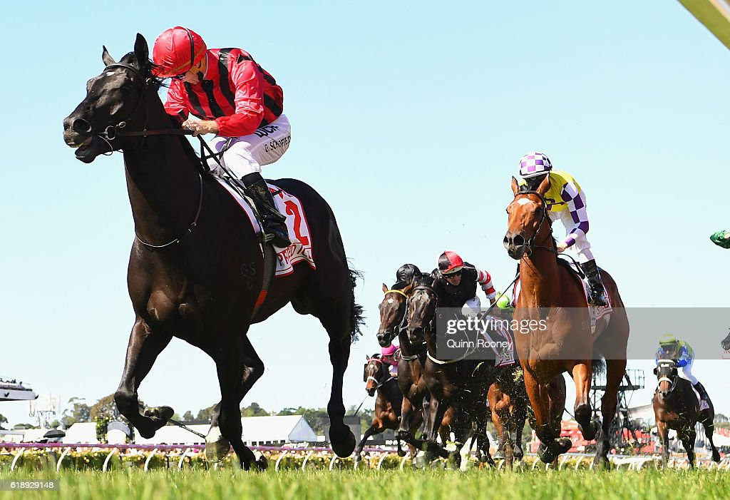 Glyn Schofield rides Prized Icon to win race seven, the AAMI Victoria Derby on Derby Day at Flemington Racecourse on October 29, 2016 in Melbourne, Australia.