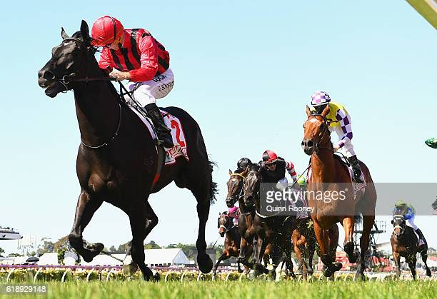 Glyn Schofield rides Prized Icon to win race seven the AAMI Victoria Derby on Derby Day at Flemington Racecourse on October 29 2016 in Melbourne...
