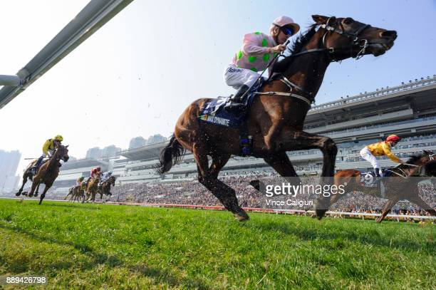 Glyn Schofield riding Max Dynamite during unplace finish in Race 4 The Longines Hong Kong Vase during Longines Hong Kong International Race Day at...