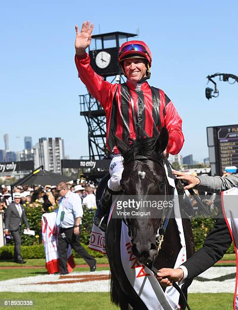 Glyn Schofield riding Prized Icon after winning Race 7 AAMi Victoria Derby on Derby Day at Flemington Racecourse on October 29 2016 in Melbourne...
