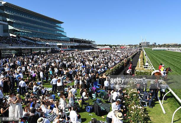 Glyn Schofield riding Prized Icon walks out onto track before winning Race 7 AAMi Victoria Derby on Derby Day at Flemington Racecourse on October 29...