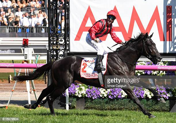 Glyn Schofield riding Prized Icon wins Race 7 AAMi Victoria Derby on Derby Day at Flemington Racecourse on October 29 2016 in Melbourne Australia