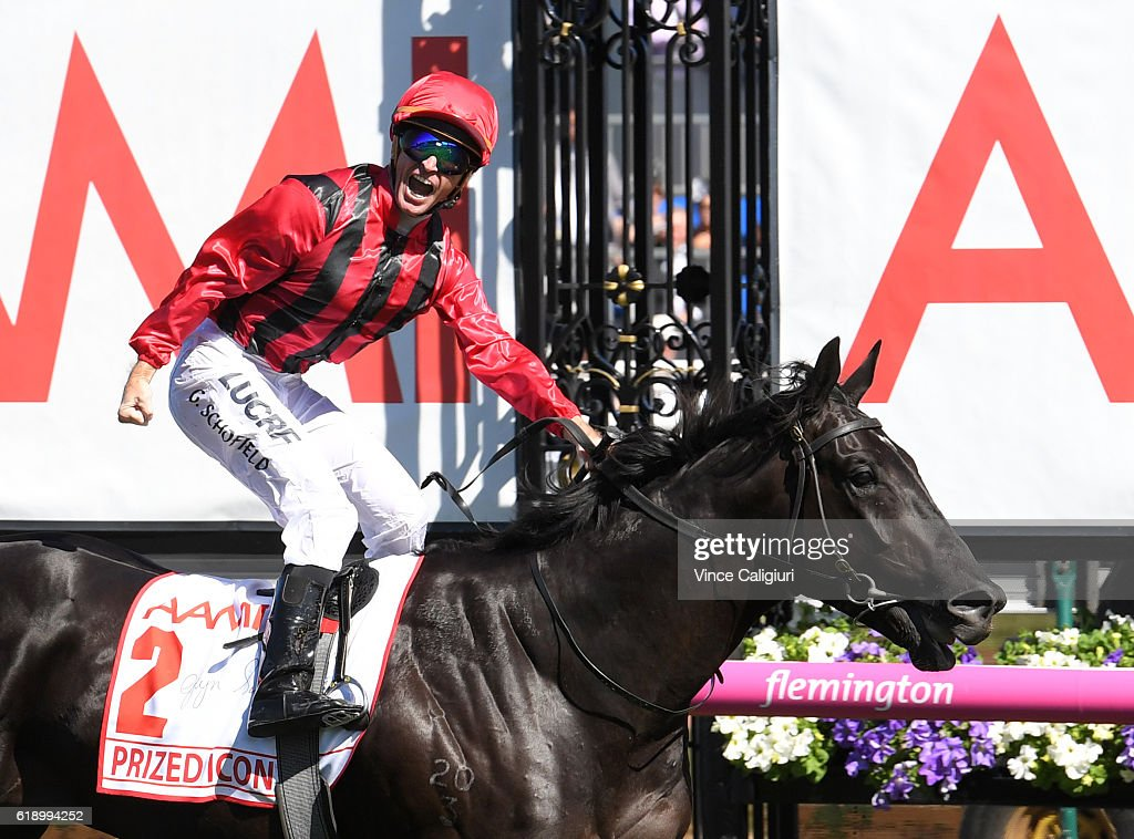 Glyn Schofield riding Prized Icon wins Race 7, AAMi Victoria Derby on Derby Day at Flemington Racecourse on October 29, 2016 in Melbourne, Australia.