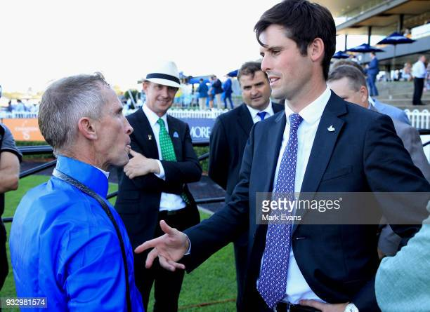 Glyn Schofield talks with trainer James Cummings after winning race 9 on Peacock during Sydney Racing at Rosehill Gardens on March 17 2018 in Sydney...