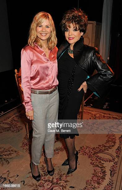 Glynis Barber and Joan Collins pose backstage following the opening night performance of her one woman show 'Joan Collins: One Night With Joan' at...