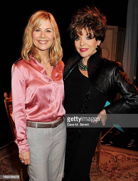 Glynis Barber and Joan Collins pose backstage following the opening night performance of her one woman show 'Joan Collins One Night With Joan' at the...