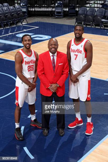 Glynn Cyprien Marquis Teague and Omari Johnson of the Memphis Hustle pose for a photo on March 15 2018 at FedExForum in Memphis Tennessee NOTE TO...