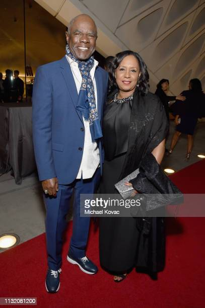 Glynn Turman and JoAnn Allen celebrate with Land Rover at The Broad museum's opening celebration of its new art exhibition Soul of a Nation Art in...