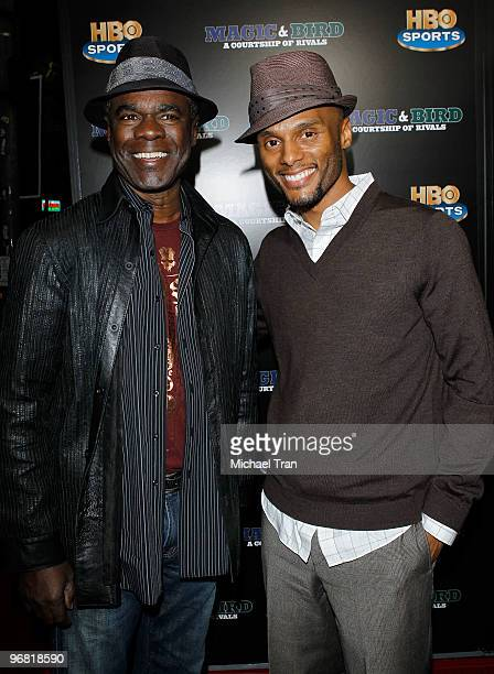 Glynn Turman and Kenny Lattimore attend the Los Angeles premiere of HBO's 'Magic And Bird A Courtship Of Rivals' held at Mann Bruin Theatre on...