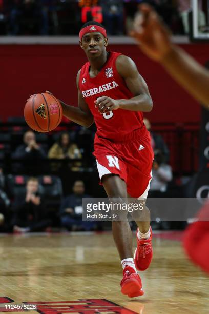 Glynn Watson Jr #5 of the Nebraska Cornhuskers in action against the Rutgers Scarlet Knights during a game at Rutgers Athletic Center on January 21...