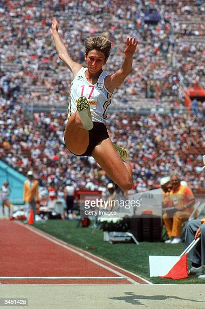 Glynnis Nunn of Australia competing in the Long Jump competition on her way to winning the gold medal in the Women's Heptathlon at the XXIII Summer...