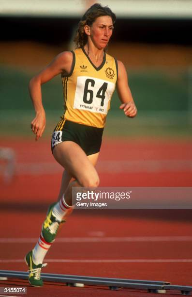 Glynnis Nunn of Australia in action during the Womens Heptathlon during the 1982 Commonwealth Games held in Brisbane Australia