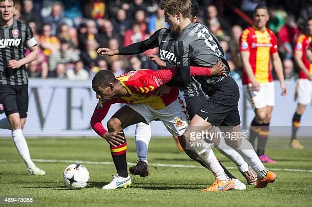 Glynor Plet of Go Ahead Eagles Joachim Andersen of FC Twente Renato Tapia of FC Twente during the Dutch Eredivisie match between Go Ahead Eagles and...