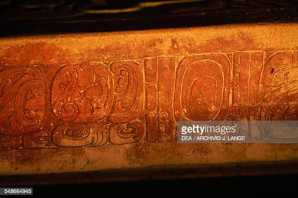 Glyphs on the sarcophagus of King Pakal in the Temple of the Inscriptions ca 675 Palenque Chiapas Mexico Mayan civilisation 7th century