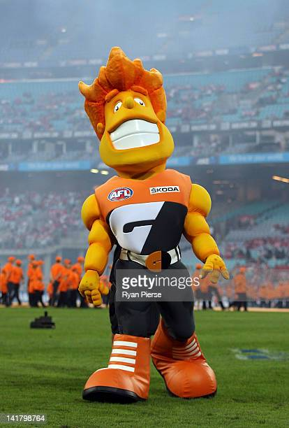 Man the Giants mascot is seen before the round one AFL match between the Greater Western Sydney Giants and the Sydney Swans at ANZ Stadium on March...
