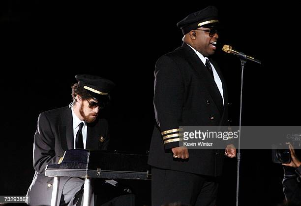 """Gnarls Barkley performs """"Crazy"""" onstage at the 49th Annual Grammy Awards at the Staples Center on February 11, 2007 in Los Angeles, California."""