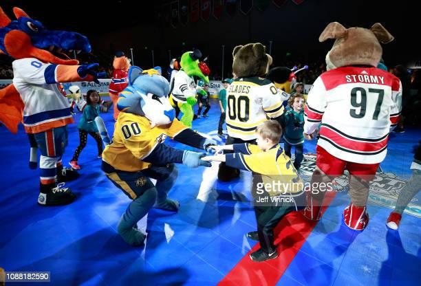 Gnash of the Nashville Predators participates in the 2019 NHL AllStar Mascot Showdown on January 24 2019 in San Jose California