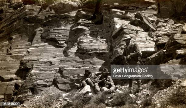 Gneiss with pegmatite veins Irvine Beetham and Mallory China March 1924 Mount Everest Expedition 1924