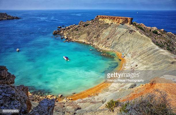 gnejna bay - malta stock pictures, royalty-free photos & images