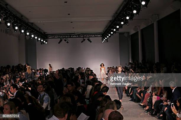 A gneral view of models on the runway at the Zac Posen fashion show during New York Fashion Week at Spring Studios on September 12 2016 in New York...