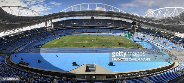 Gneral view showing the brand new blue track of the Olympic stadium during the Ibero American Athletics Championships serving as test event for Rio...