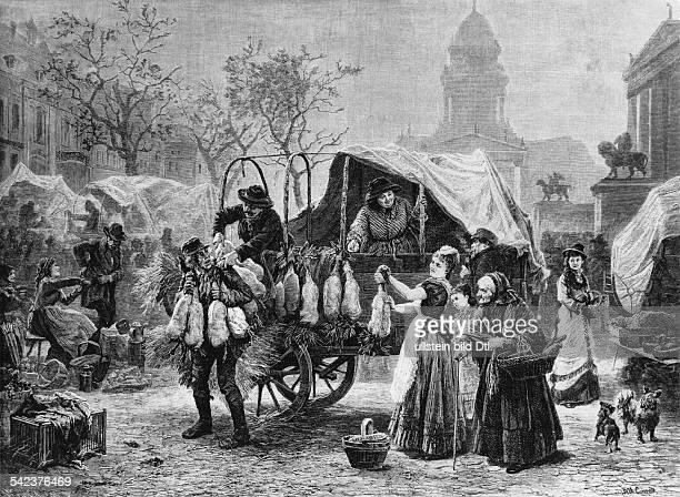 Gänseverkauf auf dem Gendarmenmarkt um 1880, Stich von Albert Conrad