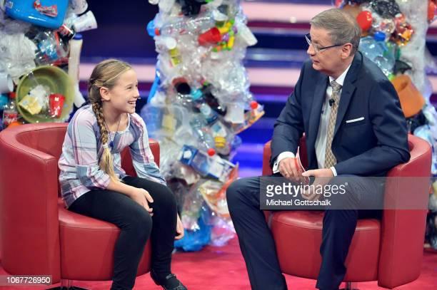 Günther Jauch talks to Vanessa Bosse on stage during the tv show '2018 Menschen Bilder Emotionen' on December 3 2017 in Cologne Germany