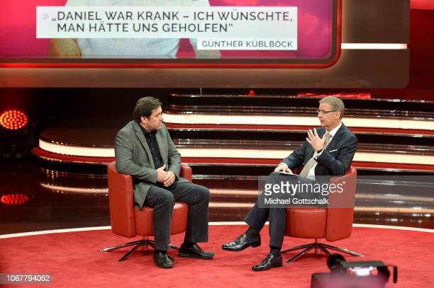 Günther Küblböck and Günther Jauch speak on stage during the tv show '2018 Menschen Bilder Emotionen' on December 3 2017 in Cologne Germany