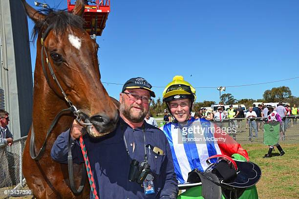 Go And Get Rich Rodney Foster and Anna JORDSJO after winning Emmetts Swan Hill BM52 Handicap at Manangatang Racecourse on October 08 2016 in...
